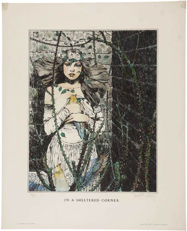 ABOVE: Jeffrey Jones, In a Sheltered Corner (Idyl Impress, 1977), hand-coloured, limited-edition lithograph, 17 x 21 inches.