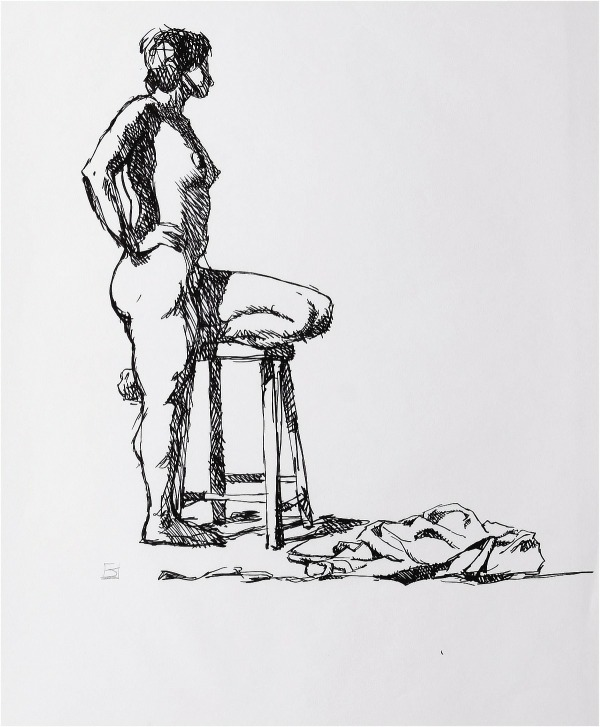 Jeffrey Jones, untitled figure drawing in marker