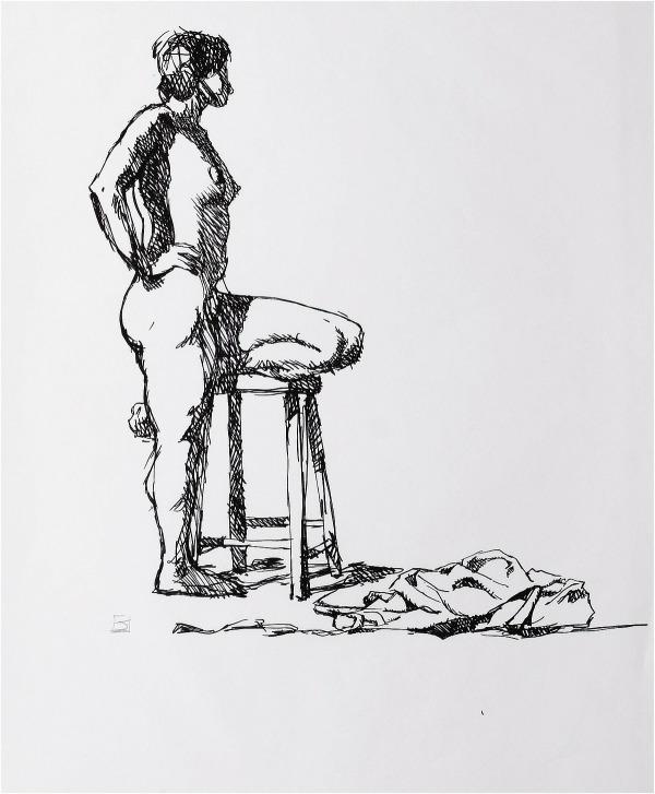 Jeffrey Jones, untitled figure drawing in marker