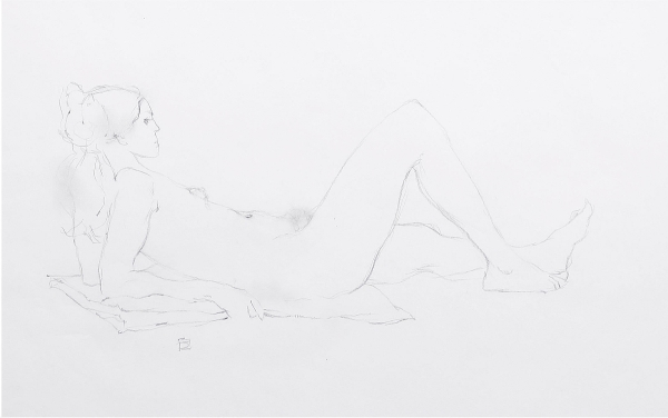 Jeffrey Jones, untitled figure study in pencil