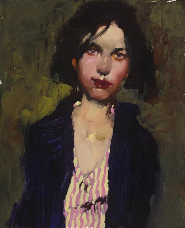 milt-kobayashi_bessie-s-striped-shirt_oil-on-canvas_12x14in