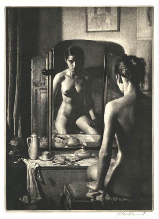 ABOVE: Gerald Leslie Brockhurst, Adolescence (1932), etching, 26.5 x 37 cm. Collection of British Council, UK. Via TRANSISTORADIO.