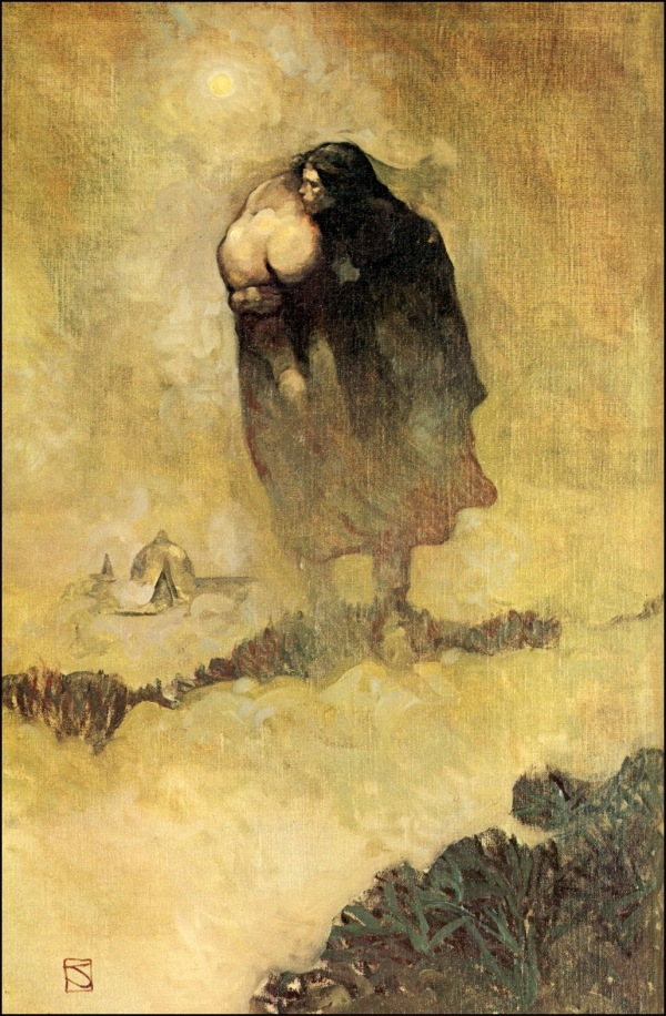 ABOVE: Jeffrey Jones, illustration in oil on canvas for Robert E. Howard, Red Shadows (West Kingston, Rhode Island: Donald M. Grant, 1978).