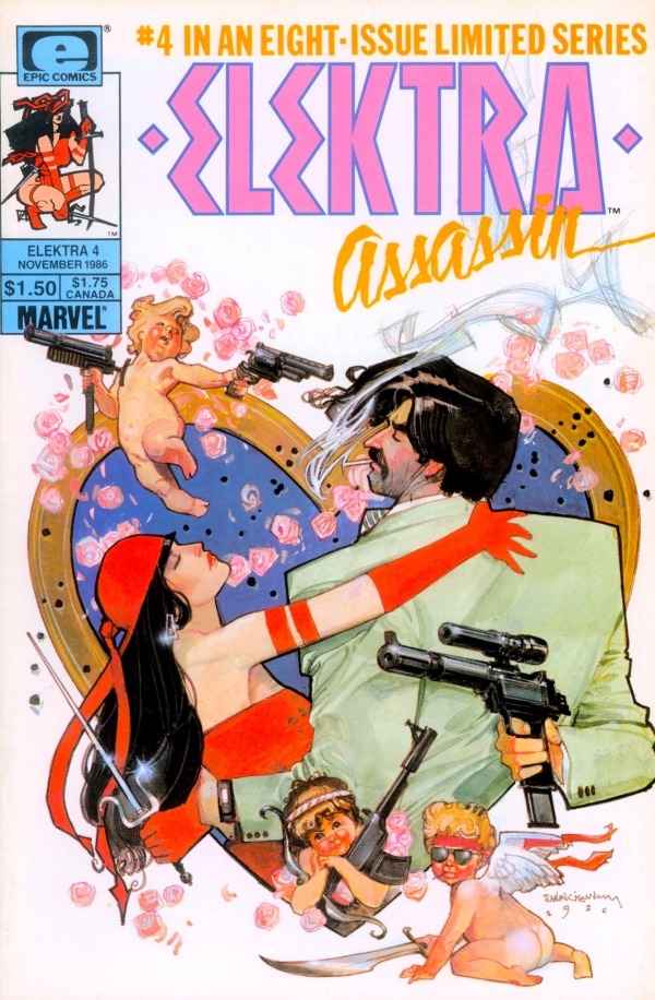 ABOVE: Electra Assassin #4 (of 8), November 1986, with cover art by Bill Sienkiewicz. Via marvel1980s.