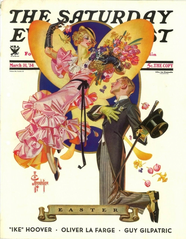 "ABOVE: J. C. Leyendecker, ""Easter,"" The Saturday Evening Post, March 21, 1934. Via watkin."