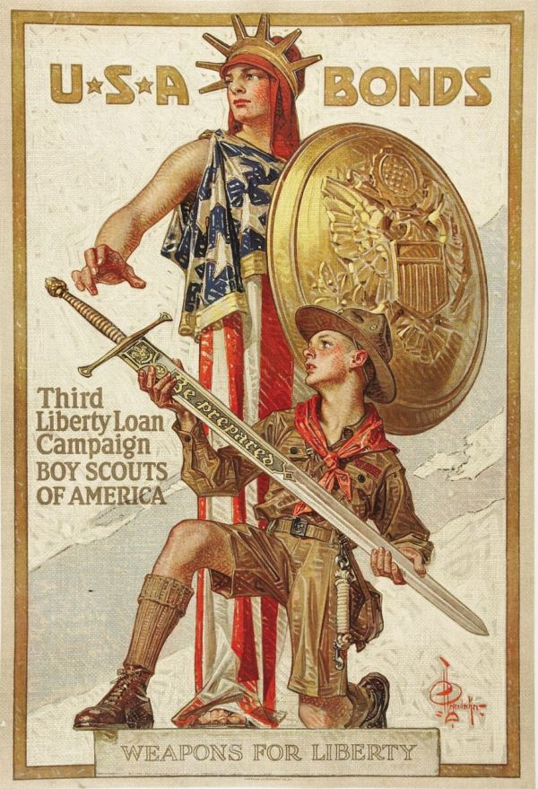 "ABOVE: J. C. Leyendecker, ""Weapons for Liberty"" poster (American Lithographic Co., 1918)."